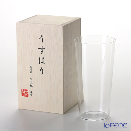 Shotoku Glass 'Usuhari' Tumbler 340ml (L / with wooden box)