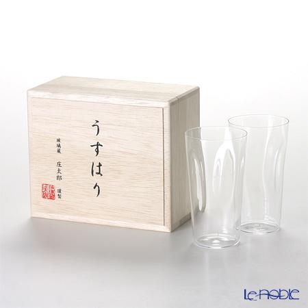 Shotoku Glass 'Usuhari - Shiwa Crinkled' Tumbler 150ml (S / set of 2 with wooden box)