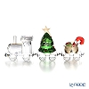 Swarovski Locomotive & Christmas Tree Wagon & Santa Gift Wagon Festival Train Set
