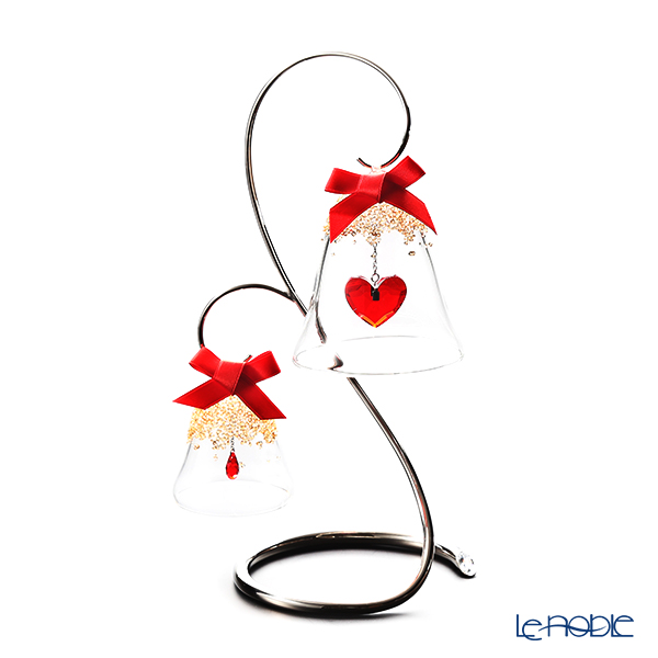 Swarovski 'Christmas Ornament - Bell (Red Drop & Red Heart)' Golden shadow Home Display (set of 3)