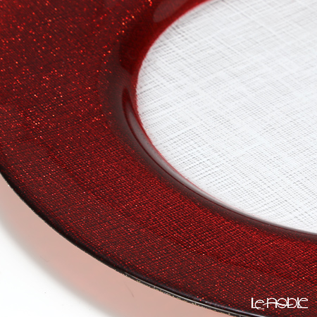 Vetro Felice 'Glitter' Red Charger Plate 33cm (set of 6)