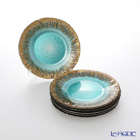 Vetro Felice 'Flash' Turquoise x Gold Plate 21.5cm (set of 6)