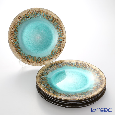 Vetro Felice 'Flash' Turquoise x Gold Plate 28cm (set of 6)