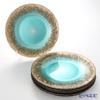 Vetro Felice Flash 349128P Plate 33 cm turquoise / Gold 6/24 6 pieces