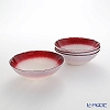 Vetro Felice Flash 649117 Pearl White Bowl 17 cm (4/16) x red 4 piece set