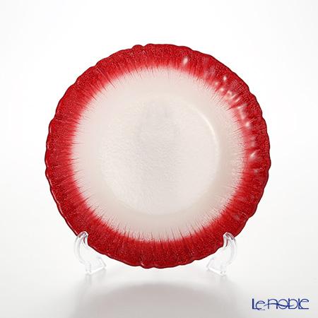 Vetro Felice 'Flash' White Pearl x Red Plate 21.5cm (set of 4)
