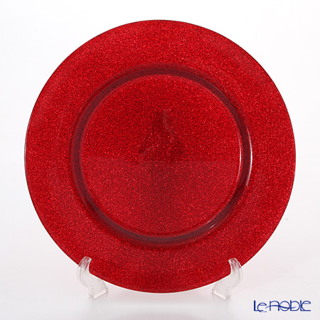 Vetro Felice 'Glitter' Red Full Charger Plate 33cm (set of 6)