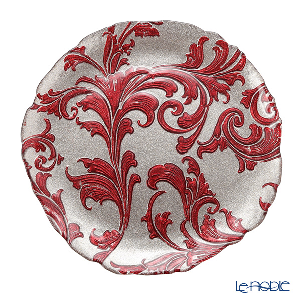 Vetro Felice 'Acanthus' Red Plate 27.5cm (set of 4)