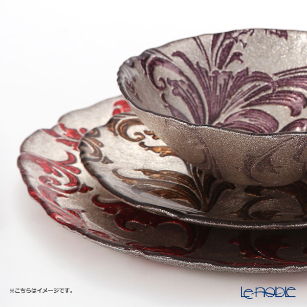 Vetro Felice 'Acanthus' Brown Plate 21cm (set of 4)