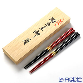 Wajima Lacquerware 'Hakeme-nuri' Red & Black Gold Chopsticks (set for 2 person with wooden box / Paulownia)