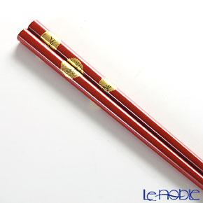 Wajima Lacquerware 'Fukujyu-sou / Amur Sdonis' Red & Black Chopsticks (set for 2 person with wooden box / Paulownia)