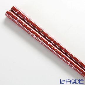 Wajima Lacquerware 'Ao-gai / Limpet Shell - Kan-shitsu' Red & Black Chopsticks (set for 2 person with wooden box / Paulownia)