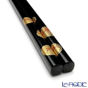 Wajima Lacquerware 'Fukujyu-sou / Amur Sdonis' Black Chopsticks 22.5cm (with wooden box / Paulownia)