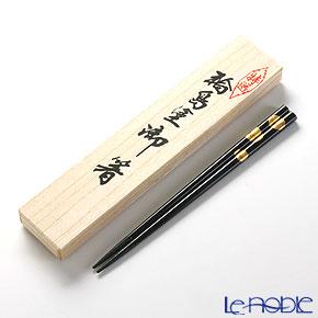 【伝統工芸】輪島塗 御箸 福寿草 黒 22.5cm 【桐箱付】