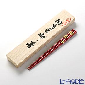 【伝統工芸】輪島塗 御箸 福寿草 赤 21.5cm 【桐箱付】