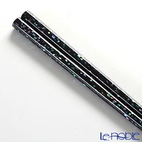 Wajima Lacquerware 'Ao-gai / Limpet Shell - Kan-shitsu' Black Chopsticks 22.5cm (with wooden box / Paulownia)