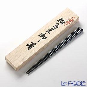 【伝統工芸】輪島塗 御箸 青貝乾漆 黒 22.5cm 【桐箱付】