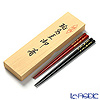 Wajima Lacquerware 'Koban' Red & Black Chopsticks (set for 2 person with wooden box / Paulownia)