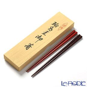 Wajima Lacquerware 'Ishime-nuri' Scarlet Red & Black Chopsticks (set for 2 person with wooden box / Paulownia)