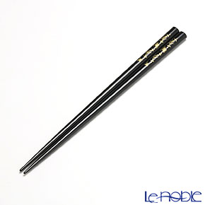 Wajima Lacquerware 'Koban Matsuba - Pine Needle (Chin-kin / Gold-inlaied)' Black Chopsticks 23cm (with wooden box / Paulownia)