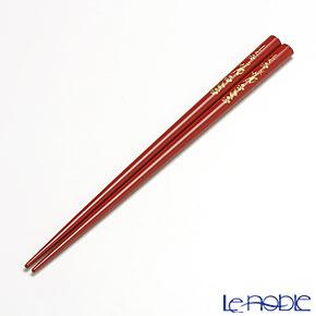 Wajima Lacquerware 'Koban - Yari Ume / Plum Flower' Red Chopsticks 21.5cm (with wooden box / Paulownia)