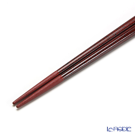 Wajima Lacquerware 'Nami Shibuki' Red Chopsticks 22cm (with wooden box / Paulownia)