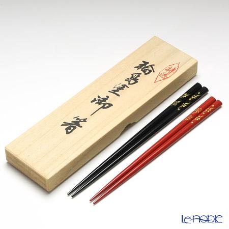 Wajima Lacquerware 'Koban Syunjyu' Red & Black Chopsticks (set for 2 person with wooden box / Paulownia)