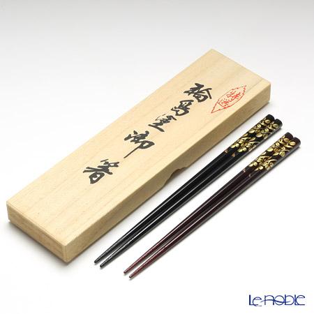 Wajima Lacquerware 'Hagi / Bush Clovers' Black & Tame-nuri Chopsticks (set for 2 person with wooden box / Paulownia)