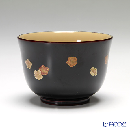 Wajima Lacquerware 'Ko-bana (Maki-e)' [Plum, Lily, Cherry Blossom, Autumn Leaf, Hydrangea] Japanese Tea Cup & Saucer (set of 5 patterns)