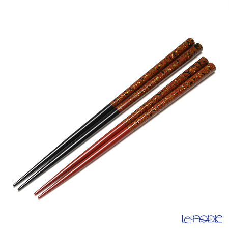 Wajima Lacquerware 'Ao-gai / Limpet Shell' Red & Black Chopsticks (set for 2 person with wooden box / Paulownia)