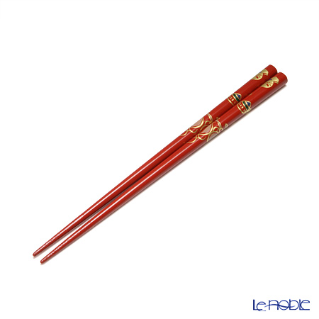Wajima Lacquerware 'Takara Zukushi / Collection of Treasures' Red & Black Chopsticks (set for 2 person with wooden box / Paulownia)