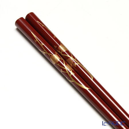 Wajima Lacquerware 'Ume / Plum Flower' Red & Black Chopsticks (set for 2 person with paper box)
