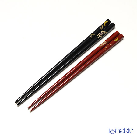 Wajima Lacquerware 'Otsukimi / Moon Viewing' Red & Black Chopsticks (set for 2 person with wooden box / Paulownia)