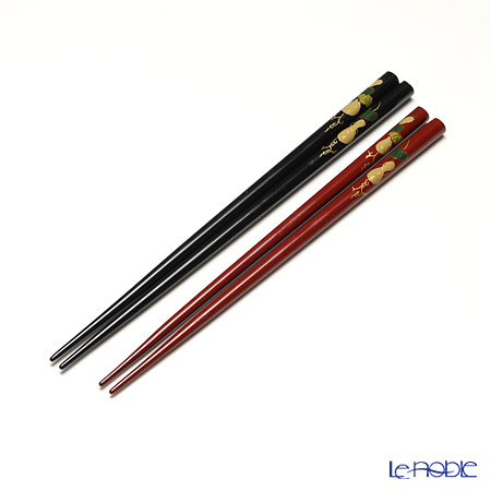 Wajima Lacquerware 'Hyoutan / Gourd' Red & Black Chopsticks (set for 2 person with paper box)