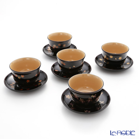 Wajima Lacquerware 'Ko-bana (Maki-e)' [Cherry Blossom, Autumn Leaf, Plum, Dianthus, Violet] Japanese Tea Cup & Saucer (set of 5 patterns)
