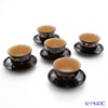 Wajima Lacquerware 'Ko-bana (Maki-e)' [Cherry Blossom, Autumn Leaf, Plum, Dianthus, Violet] Japanese Tea Cup & Saucer (set of 5 patterns)