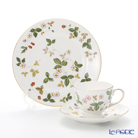 Wedgwood 'Wild Strawberry' Leigh Tea Cup & Saucer, Plate (set of 2 for 1 person)