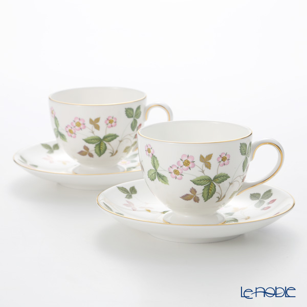 Wedgwood 'Wild Strawberry' Leigh Tea Cup & Saucer 200ml (set of 2)