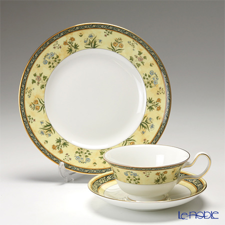 Wedgwood 'India' Peony Tea Cup & Saucer, Plate (set of 2 for 1 person)