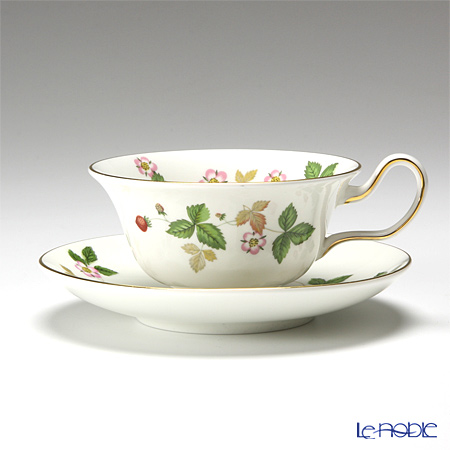 """Wedgwood 'Wild Strawberry' """"Brunch set"""" Peony Tea Cup & Saucer, Spiral Rectangular Tray (set of 2 for 1 person)"""