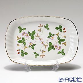 """Wedgwood 'Wild Strawberry' """"Brunch set"""" Leigh Tea Cup & Saucer, Rectangular Tray (set of 2 for 1 person)"""