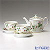 Wedgwood 'Wild Strawberry' Japanese Tea Cup & Saucer, Tea Pot (set of 3 for 2 persons)