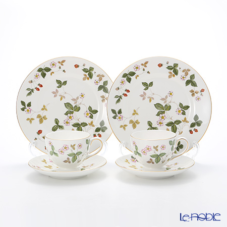 Wedgwood 'Wild Strawberry' Leigh Tea Cup & Saucer, Plate (set of 4 for 2 persons)