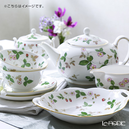 Wedgwood 'Wild Strawberry' Peony Tea Cup & Saucer, Plate, Tea Pot, Sugar Box, Creamer (set of 15 for 6 persons) 韦奇伍德 '野草莓' 15件套6人用 宽口型杯&碟, 茶壶, 糖罐,奶罐