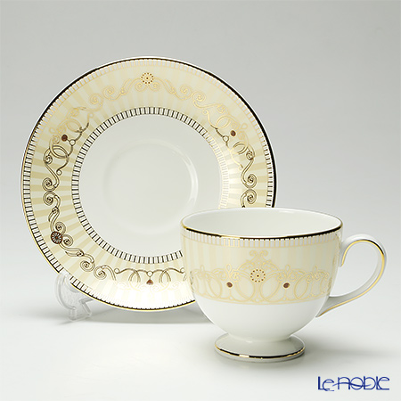 Wedgwood 'Alexandra Champagne' Leigh Tea Cup & Saucer, Plate (set of 4 for 2 persons)