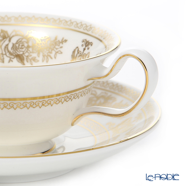 Wedgwood 'Gold Columbia' Peony Tea Cup & Saucer, Plate (set of 2 for 1 person)