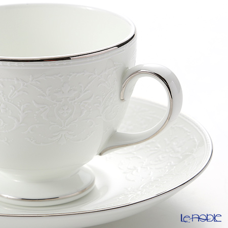 Wedgwood 'English Lace' Platinum Leigh Tea Cup & Saucer, Plate (set of 2 for 1 person)