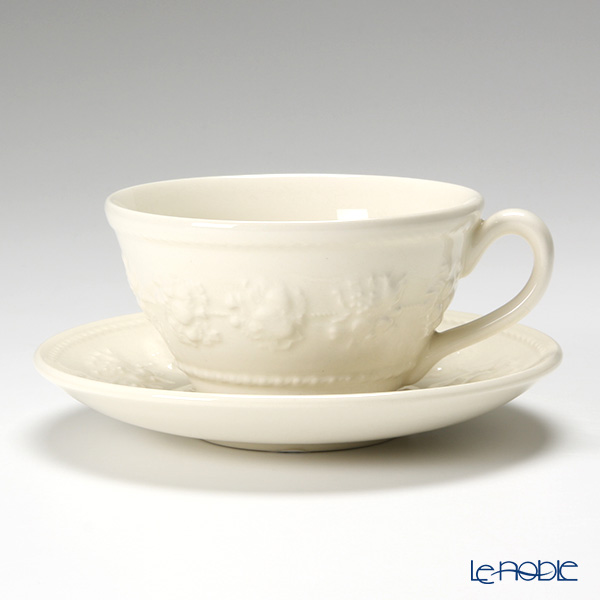Wedgwood 'Earthenware - Festivity' Ivory Tea Cup & Saucer 150ml (set of 2)