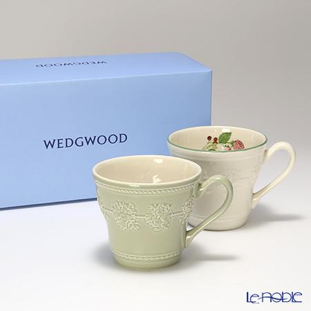 ウェッジウッド(Wedgwood) フェスティビティマグ 300cc(セージグリーン&ラズベリー) ペア 【ブランドボックス付】