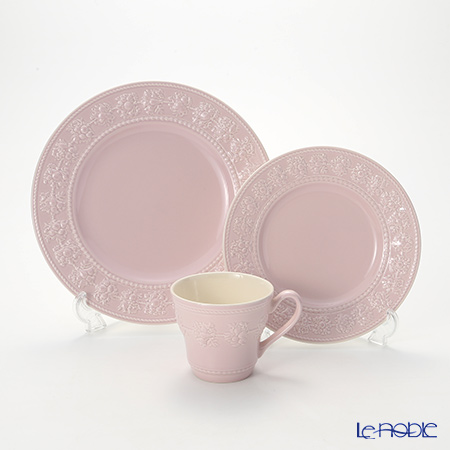 Wedgwood 'Earthenware - Festivity' Pink Mug, Plate (set of 3 for 1 person)